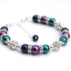 Peacock Wedding Bridesmaid Jewelry Navy Purple and Teal