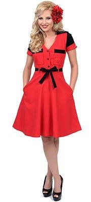 Unique Vintage Red & Black Five & Dine Swing Dress