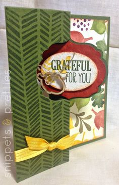 Snippets and Pretties: Grateful for you card. Fun, Fall, Flippy card!