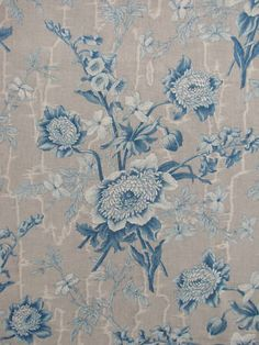 Antique French Fabric Blue Fabric c1850 Cotton Gray Ground Blue Material | eBay