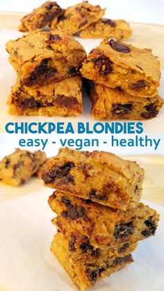 Chickpea and Almond Blondies - easy vegan recipe without peanut butter They are gluten-free vegan and high protein Simple healthy recipe vegan protein healthysnack healthy healthytreat Vegan Sweets, Healthy Sweets, Healthy Baking, Healthy Snacks, Vegan Protein Cookies, High Protein Vegan Recipes, Dinner Healthy, High Protein Snacks Healthy, Vegan Cookie Recipes