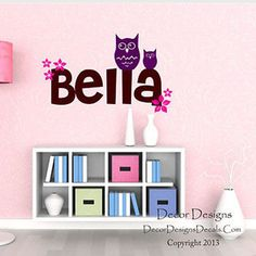 Owl and Flowers Custom Name Vinyl Wall Decal Stickers