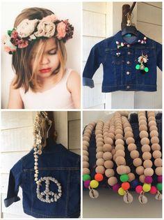 #boho#Ibiza#jeans#kids#pompons#shell#jacket#peace www.bohemianwishes.nl