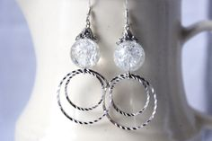 Earring Silver Circle Crackled Glass Crystal by BoundforParis, $10.00