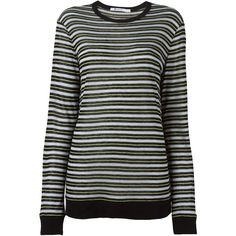 T By Alexander Wang Striped T-Shirt ($143) ❤ liked on Polyvore featuring tops, t-shirts, black, black long sleeve tee, striped tee, black long sleeve top, black stripe tee and round neck t shirt