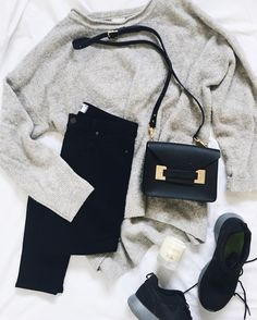Sweater weather flay lay in monochrome | onlinestylist on Instagram |