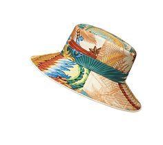 "Harmonie Hermes women's hat in lagoon blue/white lambskin, ""Mythique Phoenix"" print on twill, linen lining<br><br><span style=""font-family : Courier;color: #0066CC;"">This item may have a shipping delay of 1-3 days.</span><br><br>"