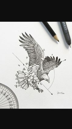 30 New Ideas For Tattoo Geometric Eagle Tatoo Geometric Tattoo Design, Geometric Drawing, Geometric Art, Geometric Tattoo Eagle, Geometric Animal, Animal Sketches, Animal Drawings, Art Sketches, Form Tattoo