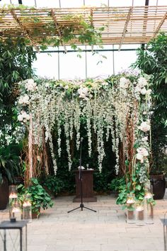 Green and White Floral Wedding Arch | Planterra | Party Assurance | Kelly Sweet Photography