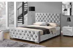 Buckingham Silver Crushed Velvet Headboard Bed