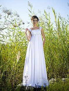 88f7e1713cc Square Neck Empire Waist Bridal Gown with Beaded Straps 0113797