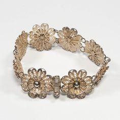 fdb7ecdba Sterling Silver Filigree Link Bracelet, Antique 925 Floral Cannetille  Bracelet, Vintage Sterling Sil Sterling