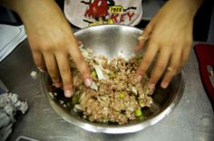 Making kubbeh hamusta in Jerusalem (meat wrapped in bulgur, then deep fried -- dip one in tahini for a crunchy snack). #recipe