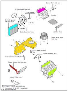 Partes y componentes del sistema de calefacción/ventilación Toyota Corolla