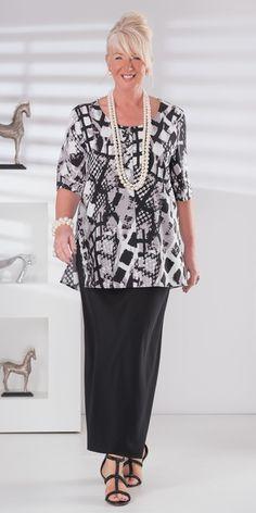 Box+2+black/grey+crepe+print+top+and+skirt