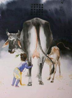 Krishna and cow by Vasudeo Kamath Baby Krishna, Krishna Radha, Cute Krishna, Jai Shree Krishna, Hanuman, Krishna Leela, Krishna Drawing, Krishna Painting, Cow Painting