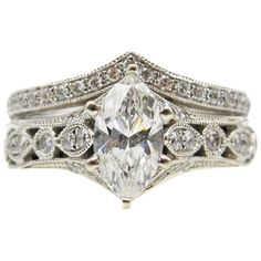 Neil Lane  Bridal Diamond Ring and Band | From a unique collection of vintage engagement rings at https://www.1stdibs.com/jewelry/rings/engagement-rings/