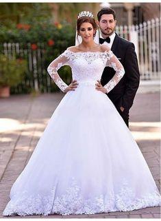2016 Long Sleeve Arabic Wedding Dresses Appliques Off The Shoulder A-line Elegant Lace Bridal Dresses Wedding Gowns Arabic Wedding Dresses, 2016 Wedding Dresses, Luxury Wedding Dress, Wedding Dress Sizes, Bridal Dresses, Gown Wedding, Lace Wedding, Dresses 2016, Wedding Venues