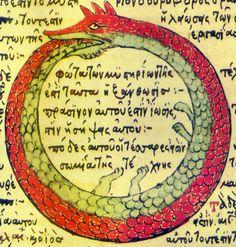 """ETERNO RETORNO. El eterno retorno es una concepción filosófica del tiempo postulada por primera vez en occidente, por el estoicismo y que planteaba una repetición del mundo en donde éste se extinguía para volver a crearse. Nietzsche en """"La gaya ciencia"""" plantea que no solo son los acontecimientos los que se repiten, sino también los pensamientos, sentimientos e ideas, en una repetición infinita e incansable. Uróboros, simboliza el esfuerzo eterno, la naturaleza cíclica de las cosas."""