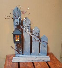 Primitive, lantern candle holder decor, Rustic reclaimed picket fence candle holder lantern, cottage decor, home decor, country decor