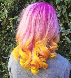 Is anyone else getting strawberry lemonade vibes from this?! Get this gorgeous look with Virgin Pink and Cosmic Sunshine Link to shop these colors are in our bio! | Hair done by @colorfullychaotic