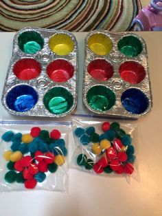 """$3.00 worth of supplies at the dollar tree = 2 """"match the colors"""" games!  #sensoryplay"""