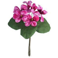 Bouquet of 6 Deep PInk Ombre Violets ~ Czech Republic