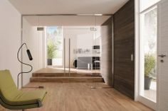 Frameless Door Solutions from Translucent Walling Solutions | DesignMind Double Swing, Tempered Glass Door, Glass Partition, Double Doors Interior, Floor Chair, Modern Interior Design, Glass Doors, Gallery, Oversized Mirror