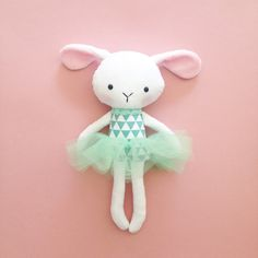 Plush Easter bunny toy  Bunny rag doll  Handmade by CreepyandCute