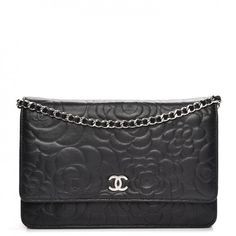 a59175f5cc6 CHANEL Lambskin Camellia Embossed Wallet On Chain WOC Black