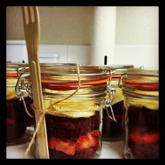 Cupcake in a jar. Split cupcake, fill with fruit or icing, put in a jar with a fork to go!