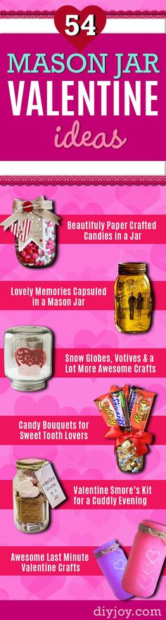 Cute Valentine Gifts and Valentines Crafts | DIY Ideas for Valentines Day for Creative Gift Giving and Decor |  Cool Heart Crafts and Homemade Valentine Mason Jars  for Friends, Boyfriend, Teacher, Kids and Neighbors. Pretty Home Decor With Hearts. http://diyjoy.com/mason-jar-valentine-crafts