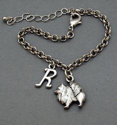 Pomeranian dog charm bracelet, antique silver, initial bracelet, friendship, mothers, adjustable, monogram  $19.75 USD