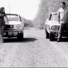 Rustic/vintage classic car enthusiast engagement photo!
