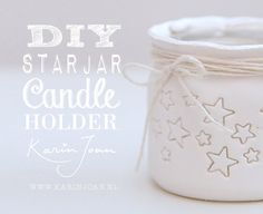 DIY handmade Clay Star Jar Candle Holder VIDEO tutorial - Turn mason jars and other jars into Christmas Candle Holders - another Karin Joan Craftproject Christmas Candle Holders, Diy Candle Holders, Diy Candles, Diy Fimo, Diy Clay, Clay Crafts, Decoration Christmas, Christmas Diy, Clay Projects