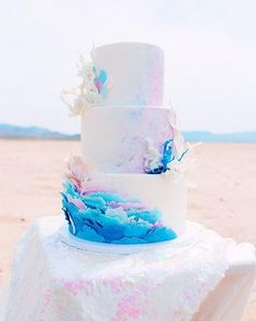 This Little Mermaid Bride Is Far From Her Ocean Home! wedding cake with an ocean theme<br> Up where we walk, up where we run, Up where we stay all day in the sun. This mermaid wishes she could be a part of our world! Sea Wedding Theme, Wedding Theme Design, Beach Wedding Favors, Wedding Cake Designs, Wedding Ideas, Beach Themed Wedding Cakes, Seaside Wedding, Purple Wedding, Gold Wedding
