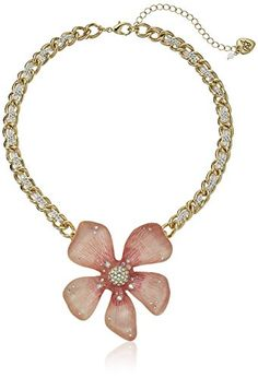 "Betsey Johnson ""Luminous Betsey"" Large Pink Flower Pendant Necklace, 16"" + 3"" Extender Betsey Johnson http://www.amazon.com/dp/B019F3KU4I/ref=cm_sw_r_pi_dp_WYVexb19QFEMM"
