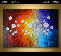 Large ORIGINAL Modern Contemporary Abstract Heavy by DLaurasArt, $179.50