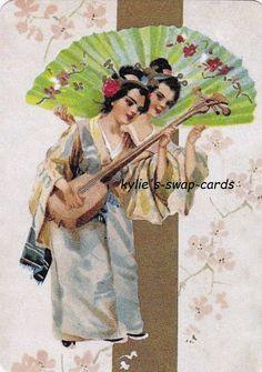 SE87 LOVELY LADY swap playing cards MINT COND Japanese Geisha girls with fan