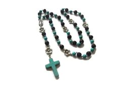 Earth Fire – Mexican Rosary Beads – Blue Howlite/Black Lava/Silver – Virgin of Guadalupe – Mishimon Designs