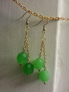 Jaded Bead Drop Earrings