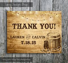 Country Wedding Thank You Card with Lights and by LangDesignShop