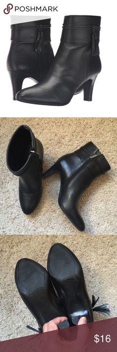 "Bandolino Willara boots Leather upper with tassel ties. Hidden zip closure along the instep. Pointed toe. Man-made lining.Lightly-padded footbed. Covered heel stem. Heel Height: 2 1⁄2"" size 5, excellent condition Bandolino Shoes Ankle Boots & Booties"