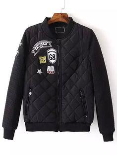 Black Stand Collar Diamondback Pattern Jacket 33.48