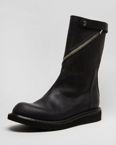 Asymmetric-Zip Motorcycle Boot by Rick Owens at Neiman Marcus.