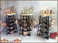 Shelf / Display for Copper Pans and Pots. Ideas for decoration and Enhancing your Finest Copper Pots.