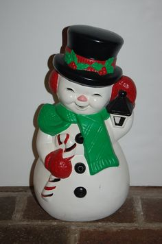 Vintage Frosty the Snowman Holiday Decor Green by JunkyardElves