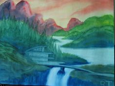 Based on requests from loyal customers, we are now offering Rick's wet-on-wet watercolor art in a beautiful wall-size calendar! Wet On Wet Painting, Blue Painting, Painting & Drawing, Watercolour Tutorials, Watercolor Techniques, Art Techniques, Rudolf Steiner, Chalkboard Drawings, Chalkboard Art
