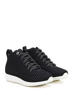 Andia Fora - Sneakers - Donna - Sneaker in tessuto tecnico e rete con glitter con suola in gomma. Tacco 30, platform 15 con battuta 15. - NERO