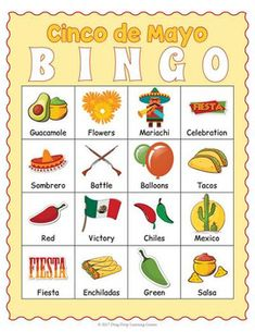 Printable Cinco de Mayo Activity - BINGO Game and Vocabulary Matching Cards Cards Diy, Mardi Gras, Kids Crafts, Mexican Birthday, Birthday Kids, Mexican Fiesta Party, Taco Party, Adult Party Games, Bingo Games